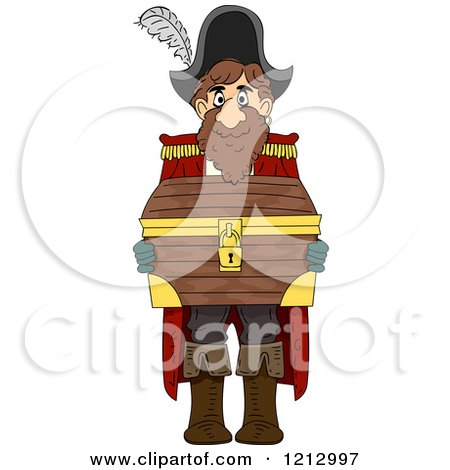 Clipart of a Pirate Captain Holding a Treasure Chest - Royalty Free Vector Illustration by BNP Design Studio