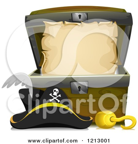 Clipart of a Parchment Scroll in a Treasure Chest with a Pirate Hook and Hat - Royalty Free Vector Illustration by BNP Design Studio