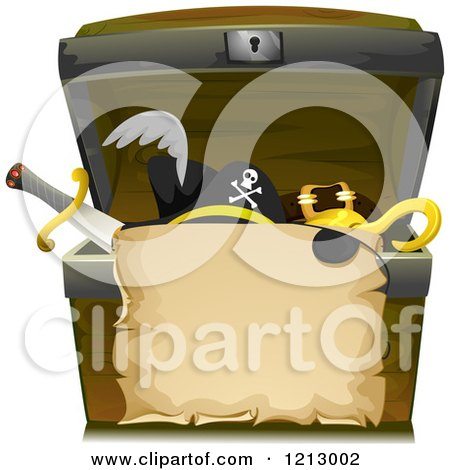 Clipart of a Parchment Scroll over a Treasure Chest with Pirate Items - Royalty Free Vector Illustration by BNP Design Studio