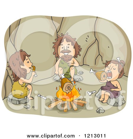 Clipart of a Caveman Family Eating Meat Around a Fire - Royalty Free Vector Illustration by BNP Design Studio