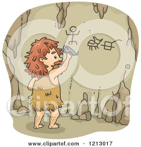 Clipart of a Caveman Writing on Cave Walls - Royalty Free Vector Illustration by BNP Design Studio