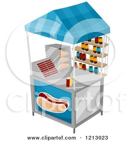 Clipart of a Hot Dog Food Vendor Cart - Royalty Free Vector Illustration by BNP Design Studio