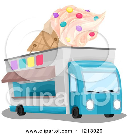 Clipart of an Ice Cream Truck with a Giant Cone on Top - Royalty Free Vector Illustration by BNP Design Studio