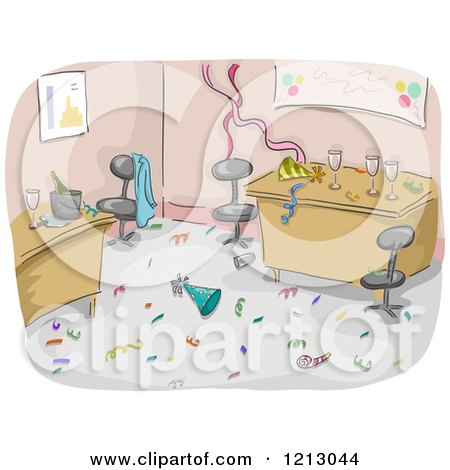 Clipart of a Messy Office After a Party - Royalty Free Vector Illustration by BNP Design Studio