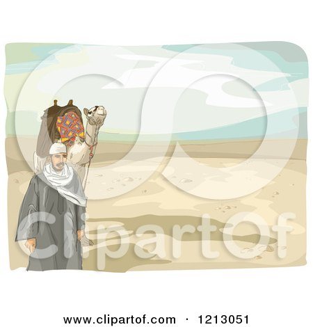 Clipart of an Arabian Man and Camel Walking in a Desert - Royalty Free Vector Illustration by BNP Design Studio