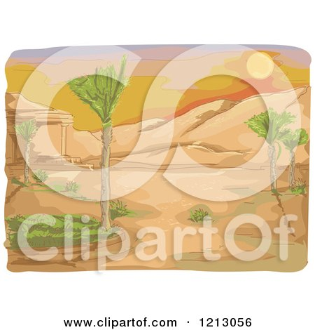 Clipart of a Sunset over a Desert - Royalty Free Vector Illustration by BNP Design Studio