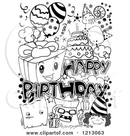 Black And White Letter H Birthday Candle Mascot 1179920 in addition New years eve party invitations additionally Classmates 2 further Black And White Happy Birthday Party Doodles 1213063 further Wine christmas greeting cards. on happy birthday in code