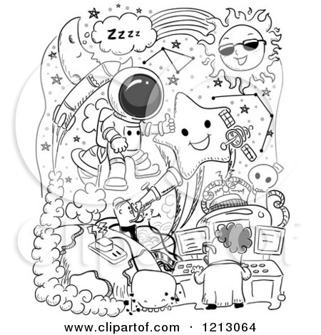 Clipart of Black and White Space Doodles - Royalty Free Vector Illustration by BNP Design Studio
