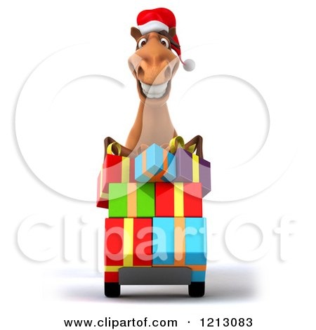 Clipart of a 3d Brown Christmas Horse Pushing Gift Boxes on a ...