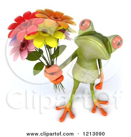 Clipart of a 3d Springer Frog Holding a Bouquet of Flowers - Royalty Free CGI Illustration by Julos