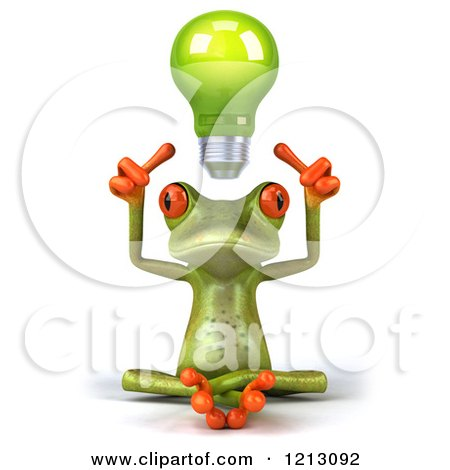 Clipart of a 3d Springer Frog Sitting with a Light Bulb Above His Head - Royalty Free CGI Illustration by Julos