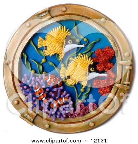 Clay Sculpture Clipart Ship Window Looking Out To Coral Reef Fish - Royalty Free 3d Illustration  by Amy Vangsgard
