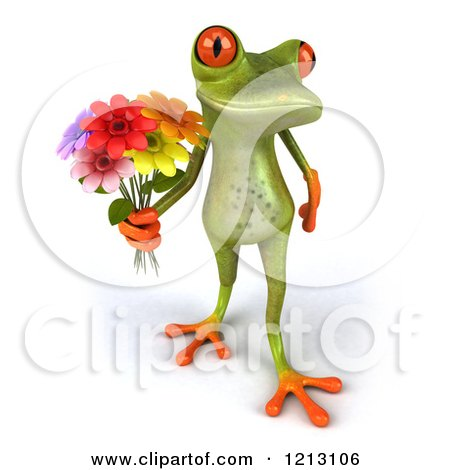 Clipart of a 3d Springer Frog Holding a Bouquet of Flowers 2 - Royalty Free CGI Illustration by Julos