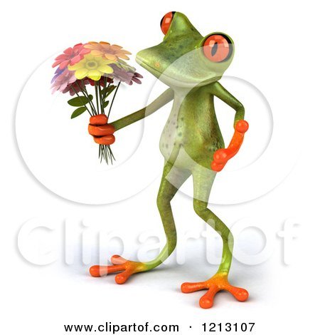 Clipart of a 3d Springer Frog Holding a Bouquet of Flowers 3 - Royalty Free CGI Illustration by Julos