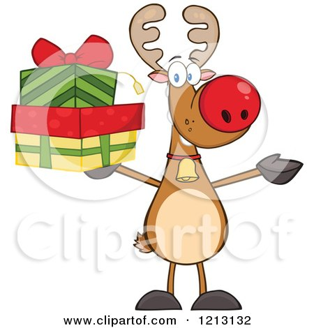 Cartoon of a Christmas Reindeer Holding Gifts - Royalty Free Vector Clipart by Hit Toon