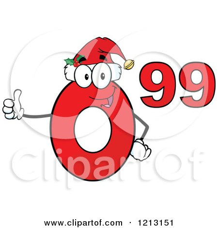Cartoon of a Red Ninety Nine Cent Mascot with a Santa Hat, Holding a Thumb up - Royalty Free Vector Clipart by Hit Toon