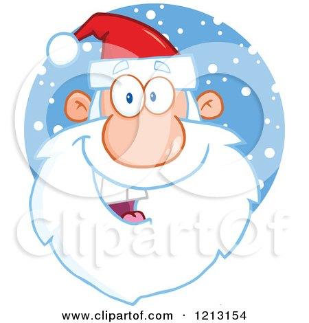 Cartoon of a Jolly Santa Face over Snow - Royalty Free Vector Clipart by Hit Toon