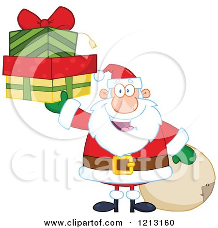 Cartoon of a Jolly Santa Holding Christmas Gifts by a Sack - Royalty Free Vector Clipart by Hit Toon