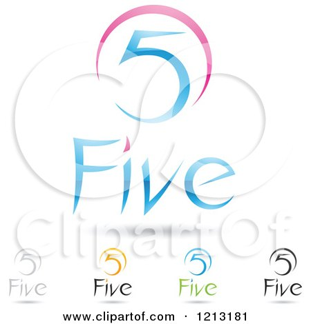Clipart of Abstract Number 5 Icons with Five Text Under the Digit 6 - Royalty Free Vector Illustration by cidepix