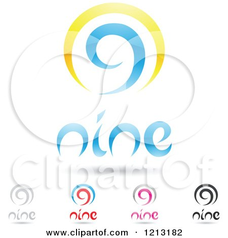 Clipart of Abstract Number 9 Icons with Nine Text Under the Digit 2 - Royalty Free Vector Illustration by cidepix