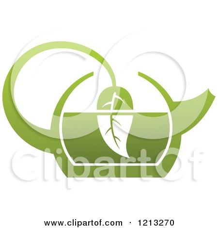 Clipart of a Pot of Green Tea with Leaves 11 - Royalty Free Vector Illustration by Vector Tradition SM