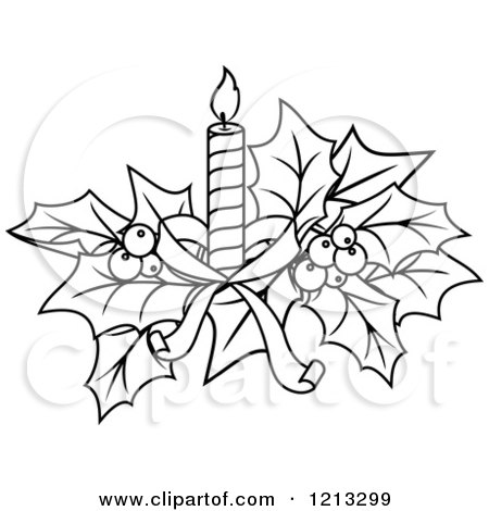 Clipart Of Black And White Christmas Holly And A Candle