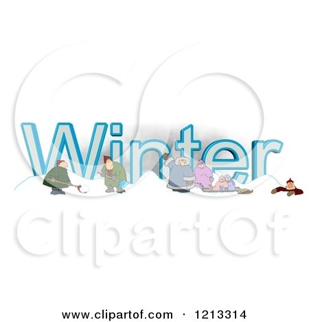 Cartoon of a Family and Men Shoveling Snow by the Word WINTER - Royalty Free Clipart by djart