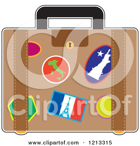 Cartoon of a Suitcase with France Italy and Usa Travel Stickers - Royalty Free Vector Clipart by Maria Bell