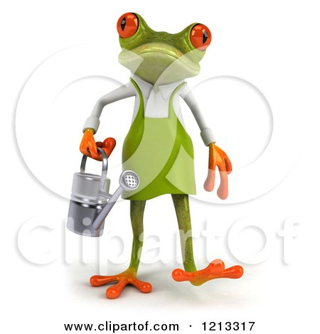 Clipart of a 3d Springer Frog Gardener Walking Forward with a Watering Can - Royalty Free CGI Illustration by Julos