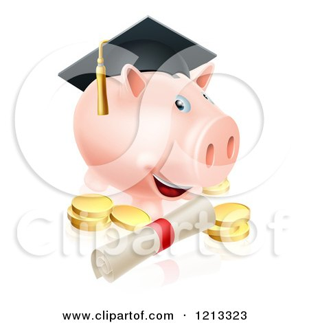 Cartoon of a Graduate Piggy Bank with a Certificate and Gold Coins - Royalty Free Vector Clipart by AtStockIllustration