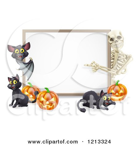 Cartoon of a Skeleton and Bat Pointing to a Halloween Sign with Black Cats and Pumpkins - Royalty Free Vector Clipart by AtStockIllustration