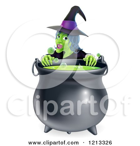 Cartoon of a Witch Smiling over a Boiling Cauldron - Royalty Free Vector Clipart by AtStockIllustration