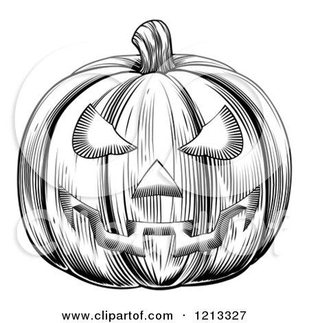 Clipart of a Black and White Halloween Woodcut Jackolantern Pumpkin ...