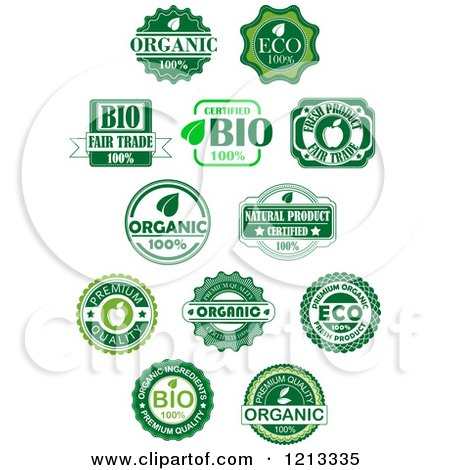Clipart of Green Organic and Natural Quality Labels - Royalty Free Vector Illustration by Vector Tradition SM