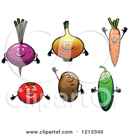 Clipart of Beet Onion Carrot Tomato Potato and Cucumber Mascots - Royalty Free Vector Illustration by Vector Tradition SM