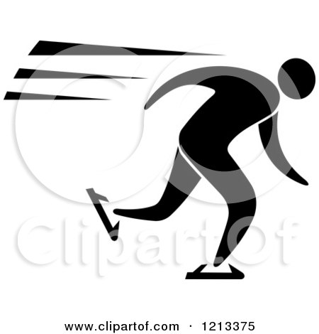 Clipart of a Black and White Ice Skater - Royalty Free Vector Illustration by Vector Tradition SM