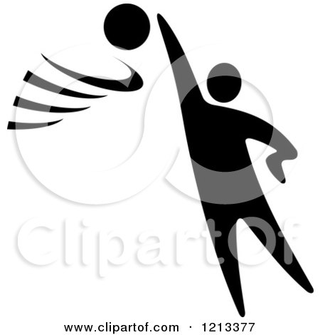 Clipart of a Black and White Basketball Player - Royalty Free Vector Illustration by Vector Tradition SM