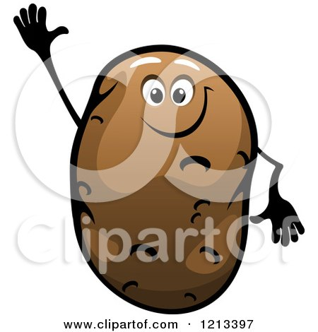 Clipart of a Waving Potato Mascot - Royalty Free Vector Illustration by Vector Tradition SM