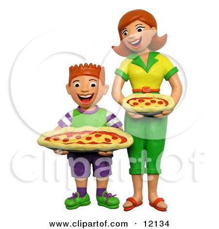 Clay Sculpture Clipart 3d Mom And Son Holding Pepperoni Pizzas - Royalty Free 3d Illustration  by Amy Vangsgard