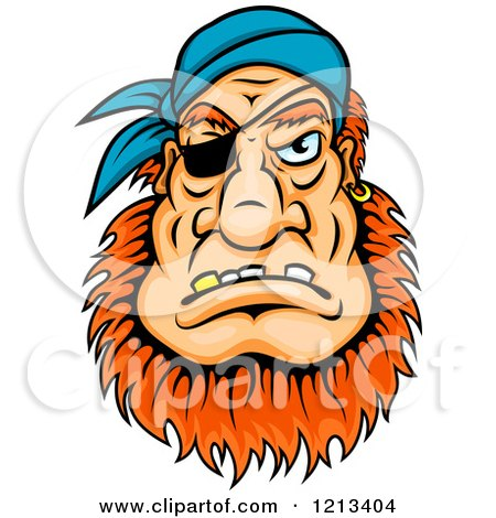 Clipart of a Red Haired Pirate Face with an Eye Patch and Bandana - Royalty Free Vector Illustration by Vector Tradition SM