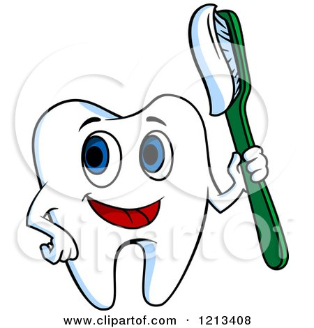 Clipart of a Happy Tooth Character Holding a Brush - Royalty Free Vector Illustration by Vector Tradition SM