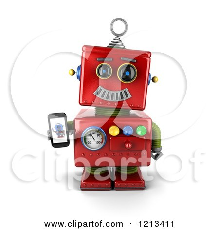 Clipart of a 3d Red Vintage Robot Holding a Smart Phone with a Picture on the Screen - Royalty Free CGI Illustration by stockillustrations
