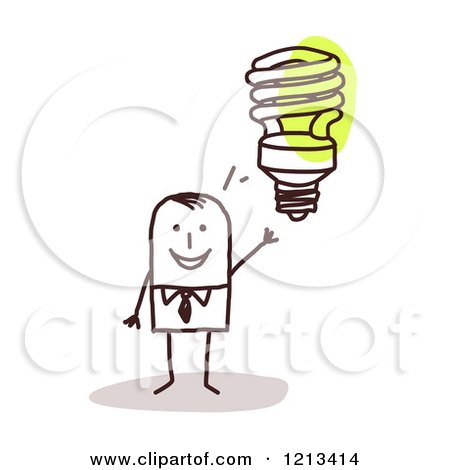 Clipart of a Stick People Man with an Idea Light Bulb - Royalty Free Vector Illustration by NL shop