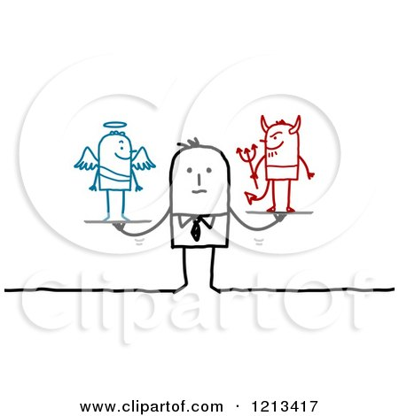 Clipart of a Stick People Man with a Good and Bad Conscience - Royalty Free Vector Illustration by NL shop