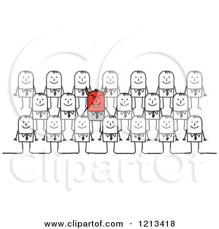 Clipart of a Stick People Devil Business Man in a Crowd - Royalty Free Vector Illustration by NL shop