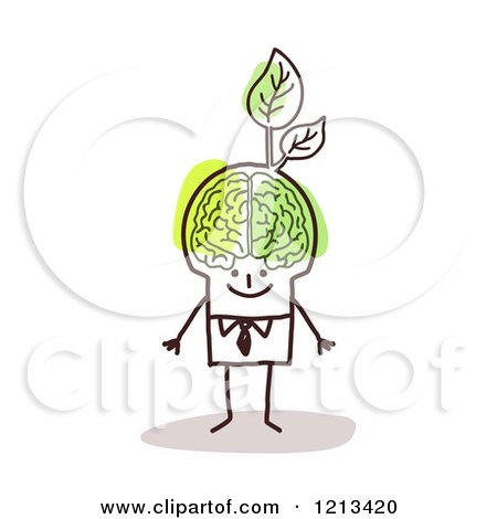 Clipart of a Stick People Man with a Visible Green Brain and Leaves - Royalty Free Vector Illustration by NL shop