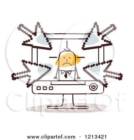 Clipart of a Stick People Man in a Computer with Arrows Pointing at Him - Royalty Free Vector Illustration by NL shop