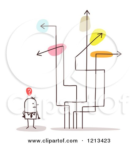 Clipart of a Stick People Man with Confusing Arrow Signs - Royalty Free Vector Illustration by NL shop
