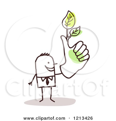 Clipart of a Stick People Man with a Green Thumb and Leaves - Royalty Free Vector Illustration by NL shop