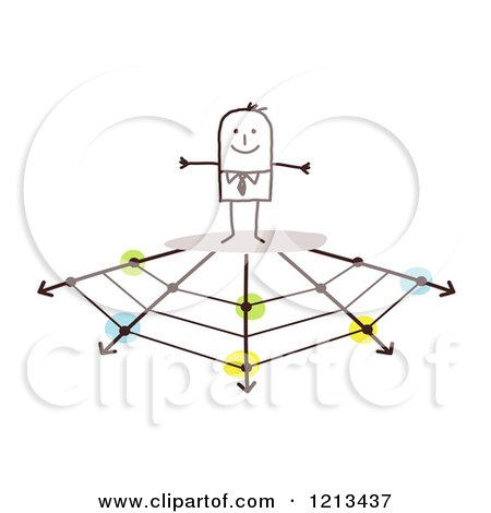 Clipart of a Stick People Business Man on a Web of Arrows Branching off - Royalty Free Vector Illustration by NL shop